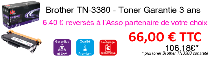 BROTHER TN3380 NOIR | TONER LASER DE MARQUE UPRINT BROTHER TN-3380