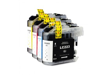 Brother LC223 Noir et Couleur, Lot de 4 cartouches d'encre compatibles Brother LC223VALBP de 600 pages. Garantie 1 an.