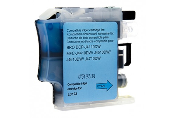Brother LC123C Cyan  Cartouche d'encre Compatible pas cher pour Brother LC121/ LC123/ LC125