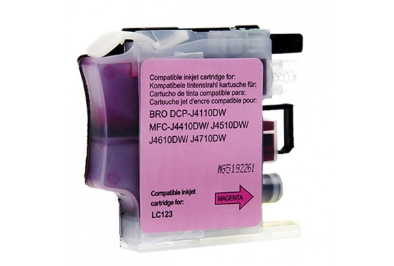 Brother LC123M Magenta |Cartouche d'encre Compatible pas cher pour Brother LC121/ LC123/ LC125