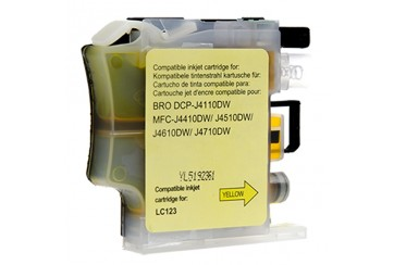 Brother LC123 Jaune, cartouche d'encre compatible Brother LC123Y de 600 pages. Garantie 1 an.