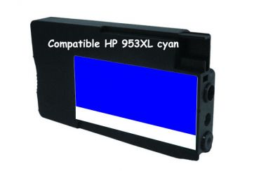 Cartouche d'encre compatible HP 953XL / F6U16AE Cyan 26ml / 1600 pages.