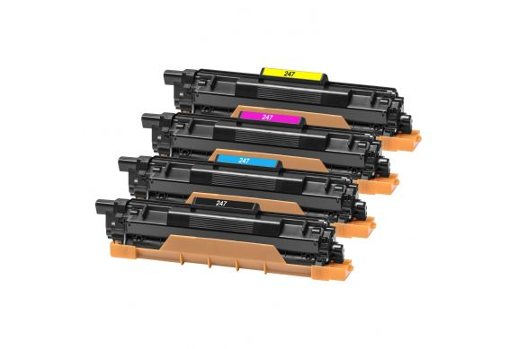 Brother TN247 Noir et Couleur, Lot de 4 cartouches toner lasers compatibles Brother TN247 de 3000 pages Noir, 2300 couleur. Gara