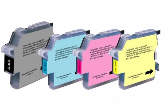 Brother LC980 Noir et Couleur, Lot de 4 cartouches d'encre compatibles Brother LC980VALBP de 600 pages. Garantie 1 an.