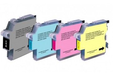 Brother LC1100 Noir et Couleur, Lot de 4 cartouches d'encre compatibles Brother LC1100VALBP de 600 pages. Garantie 1 an.
